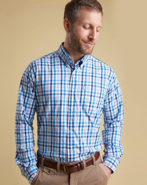 Barbour Mens Fell Performance Shirt-Blue