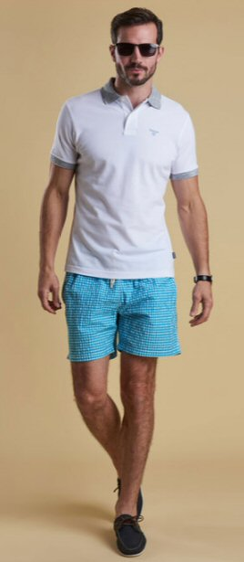 Barbour Mens Gingham Swim Short-Aqua