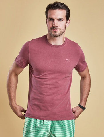 Barbour Mens Garment Dyed Tee Shirt-Biking Red