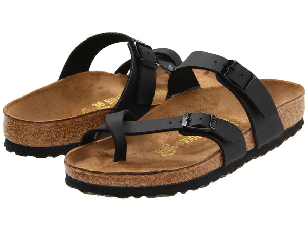 Birkenstock Mayari Sandals in Black Burk-Flor are so comfortable and chic. Shop Bennett's Clothing for a large selection of Birkenstock sandals with same day shipping to your door.
