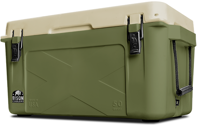 BISON 50 QT Cooler-Olive-Tan