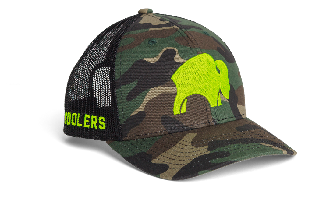 Bison Cooler Trucker Hat-Neon Yellow/Camo - Bennett's Clothing
