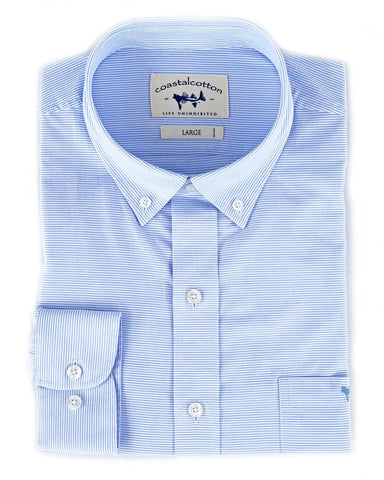 Coastal Cotton Horizontal Stripe Sport Shirt for men looks great with your chinos or shorts. Shop Bennetts Clothing for the best brands with the latest style.