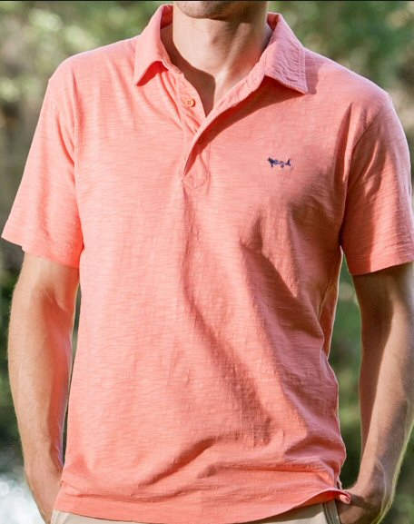 Coastal Cotton Slub Polo Shirt-Bright Melon