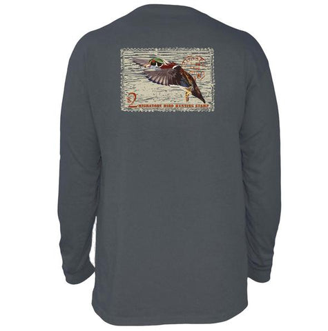 Coastal Cotton Duck Stamp long sleeve t-shirt is perfect for the outdoorsman in your life. Shop Bennetts Clothing for the best in southern, preppy, name brand menswear