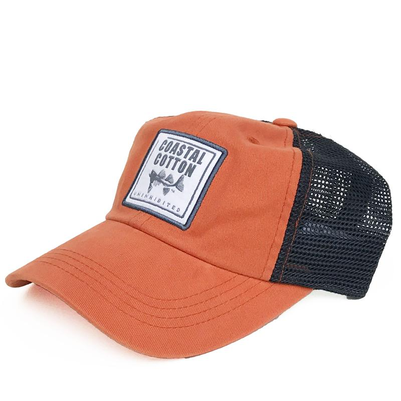 Coastal Cotton Unstructured Trucker Hat-Navy/Orange
