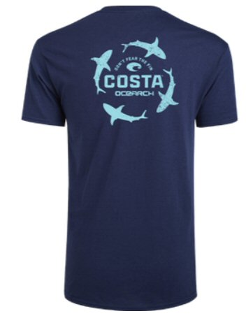 Costa Del Mar Ocearch Circle Shark t-shirt looks good whether your a landshark or want to help protect the sea. Shop Bennetts Clothing for a large selection of Costa gear and sunglasses with same day shipping.