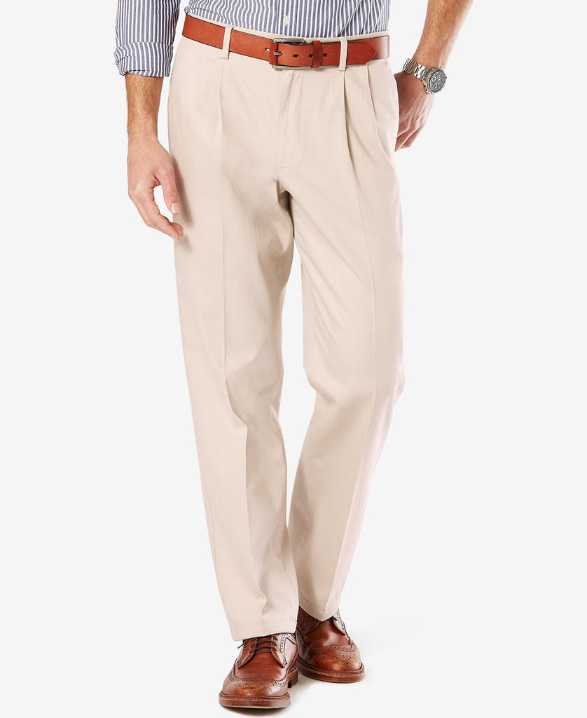 Dockers Signature Classic Fit Pleated Stretch Pant-Stone - Bennett's Clothing