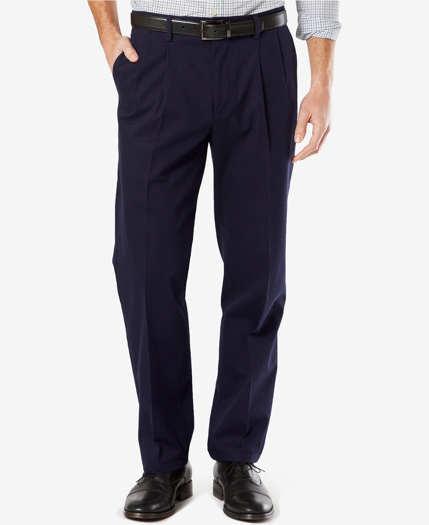Dockers Signature Classic Fit Pleated Stretch Pant-Navy - Bennett's Clothing