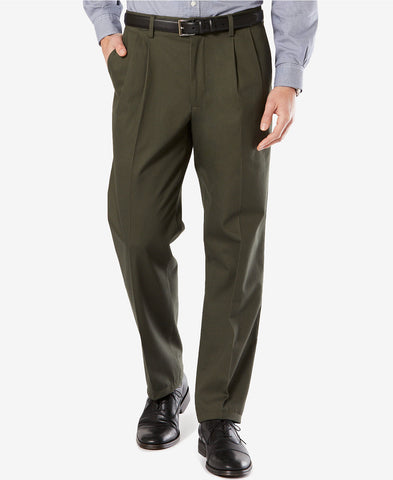 Dockers Signature Classic Fit Pleated Stretch Pant-Olive - Bennett's Clothing