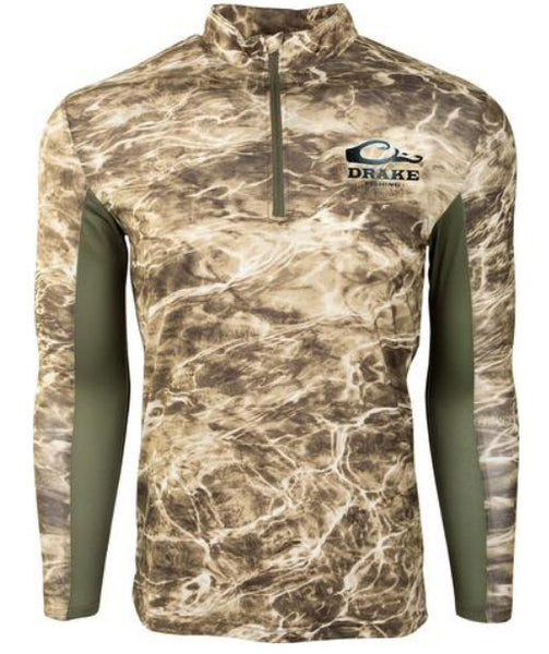 Drake Fishing Shield 4 Arched Long Sleeve Shirt with mesh back  was made for all day performance on the water. Shop Bennetts Clothing for the best in mens outdoor-wear.