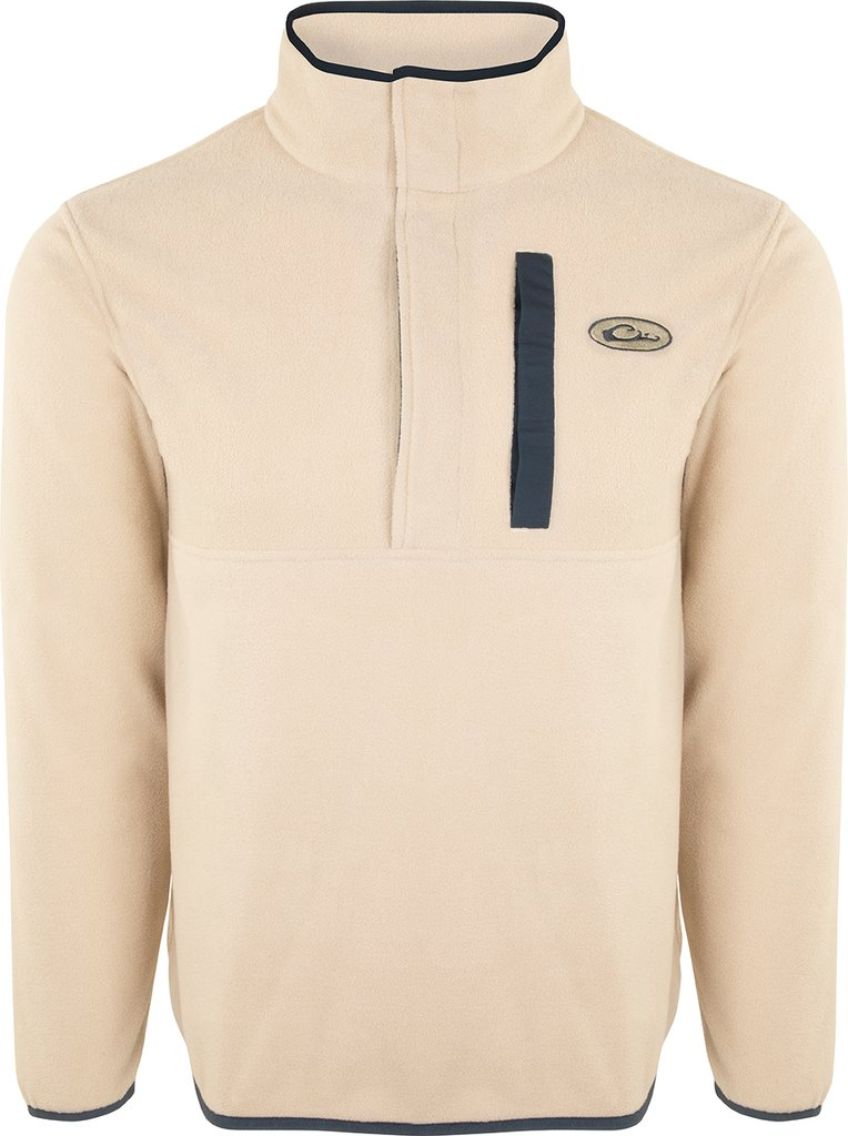 Drake Waterfowl Camp Fleece 2.0 Snap Pullover-Oatmeal/Navy