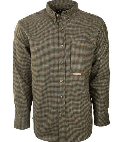 Drake Waterfowl Autumn Brushed Twill Shirt-Tan/Green Plaid