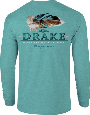 Drake Waterfowl Duck Feather t-shirt is perfect to slip-on after the hunt. Shop Bennett's Clothing for a large selection of mens outdoor wear with same day shipping
