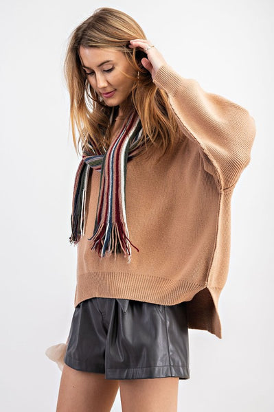 Easel Oversized Banded Knit Sweater-Camel