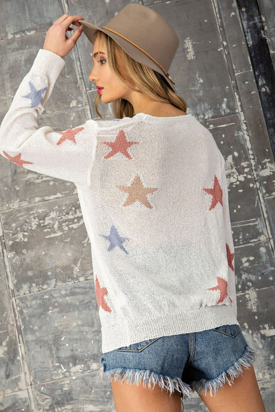 ee:Some Golden Star Crew Neck Sweater-Off White