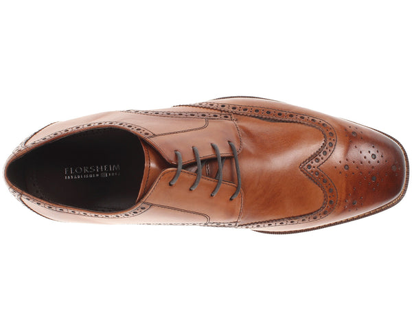 Florsheim Castellano Wingtip Oxford Dress Shoe-Saddle Tan - Bennett's Clothing - 6