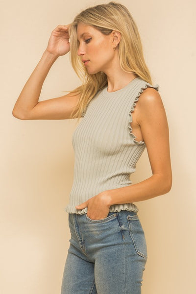 Hem & Thread Sleeveless Frill Top-Sage