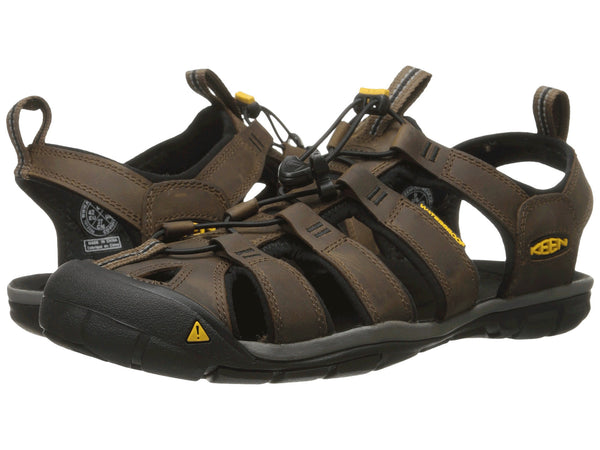 KEEN Men's Clearwater CNX Leather sandal-Dark Earth-Black