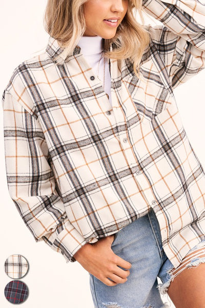La Miel Classic Encore Plaid Shirt-Bone