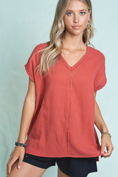 La Miel Short Sleeve V Neck Summer Top-Ginger