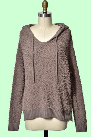 Popcorn Hoodie Sweater-Brown