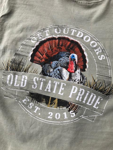Old State Pride Struttin' Turkey tee is new and will be a favorite with outdoorsman. Shop Bennett' Clothing for the brands you want shipped same day.
