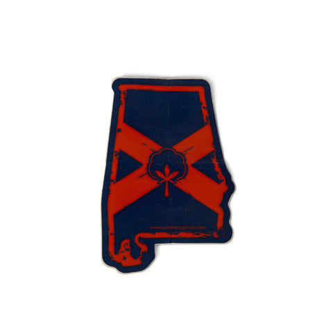 Old State Pride Alabama State Decal-Orange/Navy
