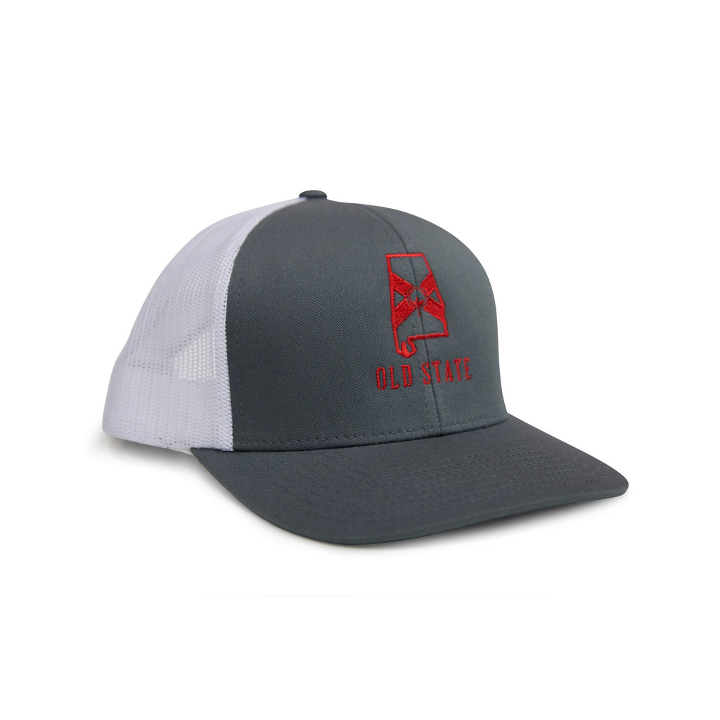 Old State Pride Alabama State Trucker Hat-Graphite/Red