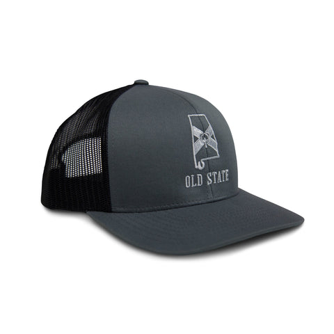 Old State Pride Alabama State Trucker Hat-Graphite/Black
