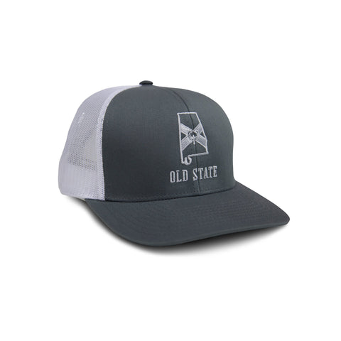 Old State Pride Alabama State Trucker Hat-Graphite/White