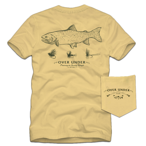 Over Under Dry Flies t-shirt has spot on styling and made in the USA. Shop Bennetts Clothing for the best names in mens outdoor clothing