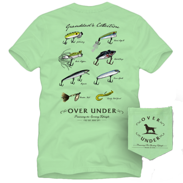 Over Under Granddad's Collection t-shirt has spot on styling and made in the USA. Shop Bennetts Clothing for the best names in mens outdoor clothing