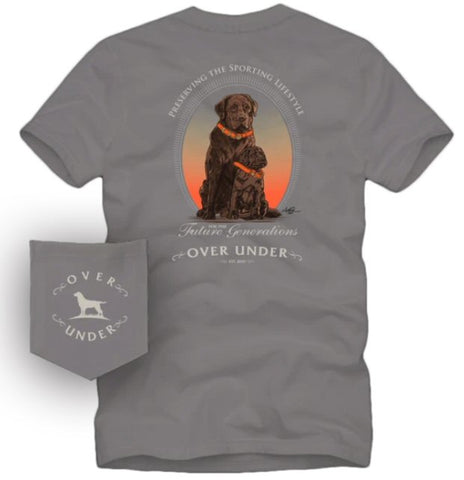 Over Under Next Generation Lab t-shirt has spot on styling and made in the USA. Shop Bennetts Clothing for the best names in mens outdoor clothing