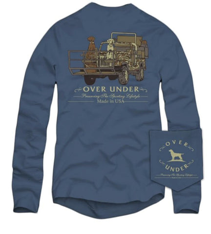 Over Under Shotgun Rider t-shirt has spot on styling and made in the USA. Shop Bennetts Clothing for the best names in mens outdoor clothing