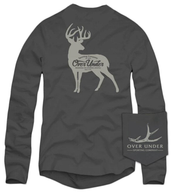 Over Under Whitetail Silhouette long sleeve t-shirt has spot on styling and made in the USA. Shop Bennetts Clothing for the best names in mens outdoor clothing