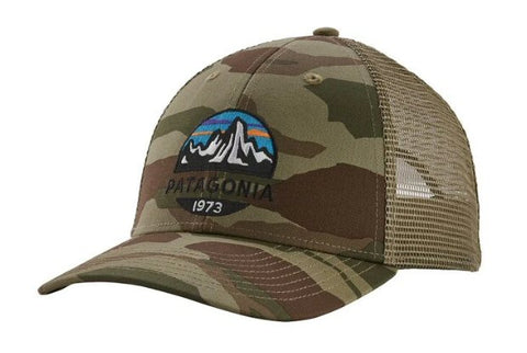 Patagonia Fitz Roy Scope Trucker hat in camo is  the latest in cool hats. Shop Bennetts Clothing for a large selection of name brand outdoor clothing