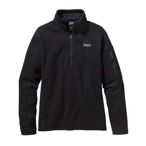 Patagonia Womens Better Sweater 1/4 Zip Fleece Pullover-Black