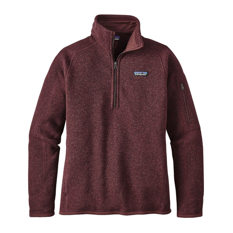 Patagonia Womens Better Sweater 1/4 Zip Fleece Pullover-Dark Ruby