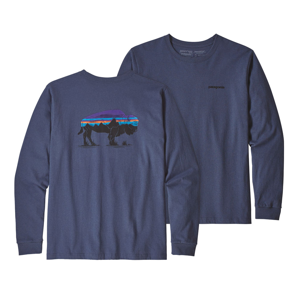 NEW Patagonia Fitz Roy Bison Responsibili Long Sleeve Tee -Shop Bennetts Clothing for a large selection of outdoor t-shirts, hats, and pullovers