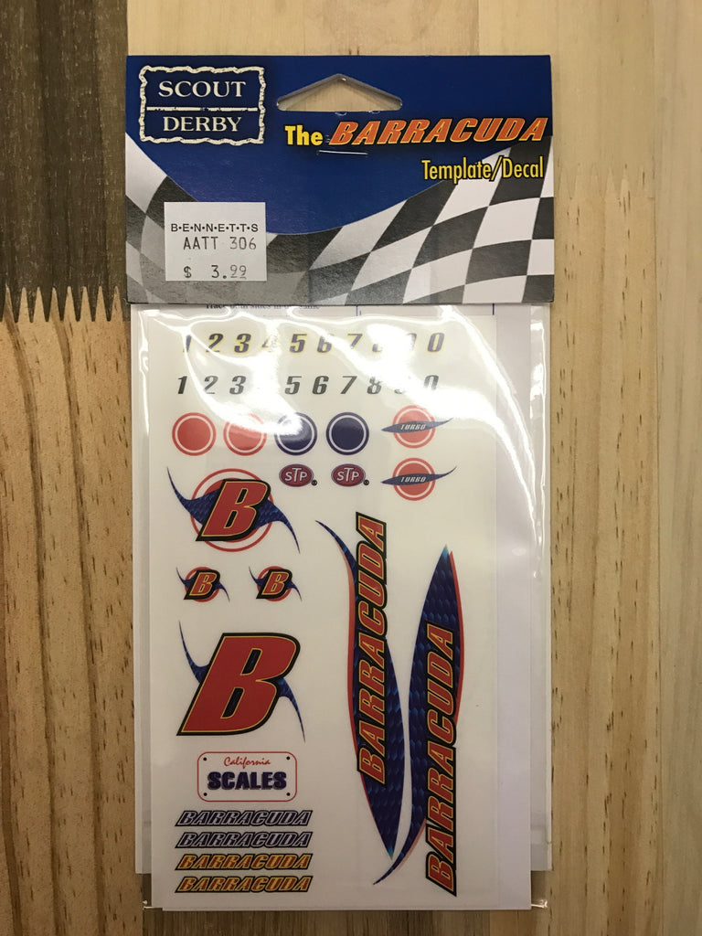 Pinewood Derby Barracuda Car Decal-Template - Bennett's Clothing