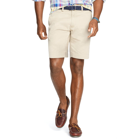 "Polo Men's Classic Fit 9"" Flat-Front Short-Khaki - Bennett's Clothing - 1"