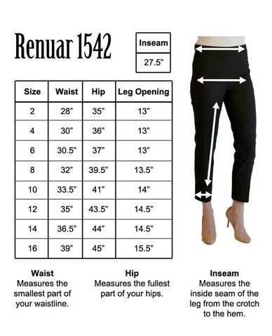 Renuar Pants online size chart-Bennett's Clothing-Athens-Alabama