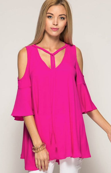She + Sky Cold Shoulder Top-Magenta Pink