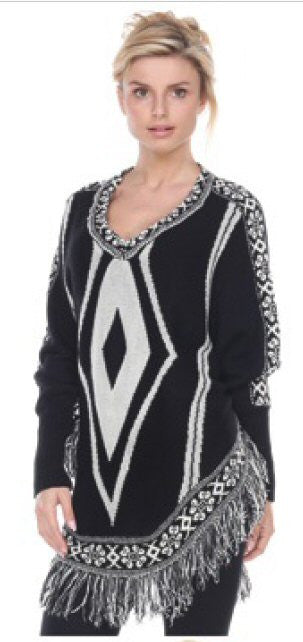 Sisters Fringe Poncho-Black/Cream - Bennett's Clothing