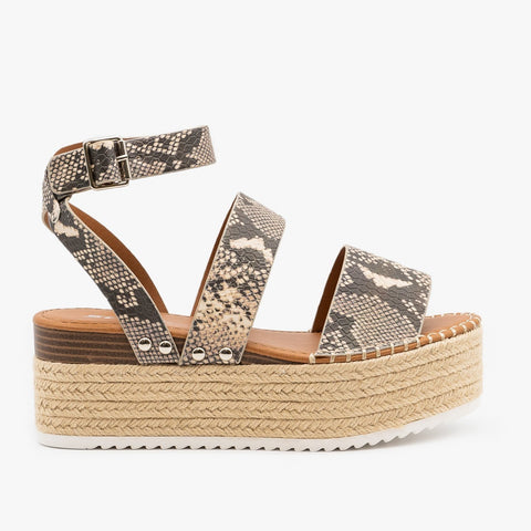 SODA Alpine Espadrille Flatform snakeskin Sandals are the rage right now and look great with..well everything! Shop Bennetts Clothing the latest and greatest in womenswear with same day shipping.