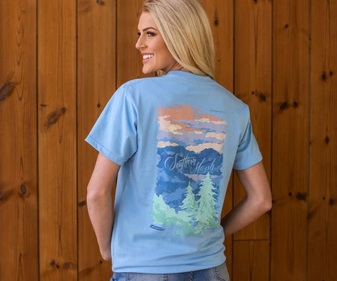 Southern Marsh Blue Ridge t-shirt captures the majestic skyline of the mountains. Shop Bennetts Clothing where you find the best brands and same day shipping.