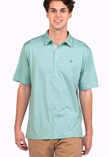 Southern Shirt Company Grayton Heather Performance Polo-Aqua Haze