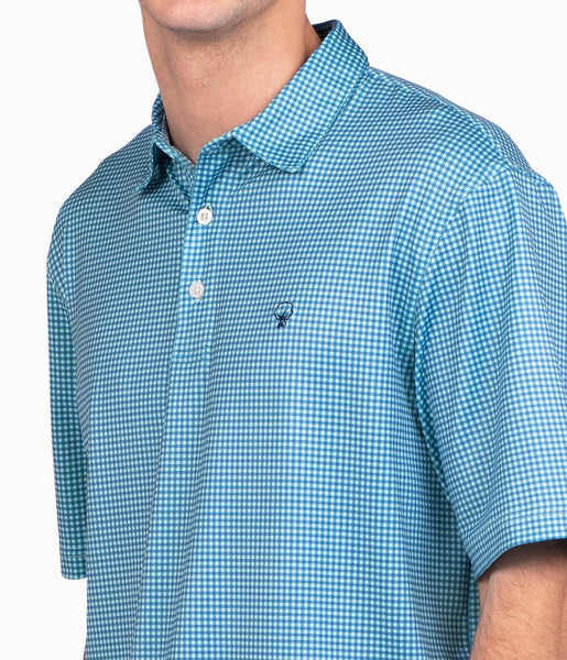 Southern Shirt Company Sandhill Gingham Performance Polo-Sea Breeze