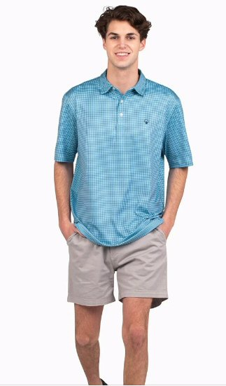 Southern Shirt Company Sandhill Gingham Polo looks cool on the links or cruising the streets. Stylish, functional men's polo's and mens clothing can be found at Bennetts where the customer is #1.